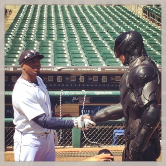 "Rajai Davis tried explaining that ""stealing a base"" wasn't a real crime to RoboCop."