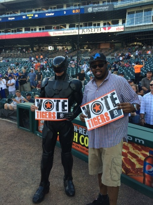 RoboCop and Nick Fairley were on hand to throw out the first pitch on Tuesday night.