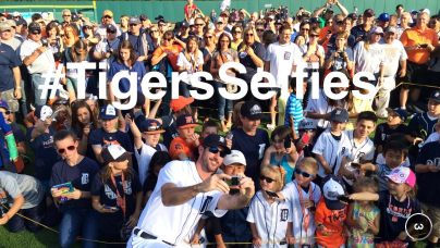 Justin Verlander helped take as many #TigersSelfies as he could before Sunday's game during On-Field Photo Day.